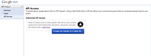 Google APIアクセス画面