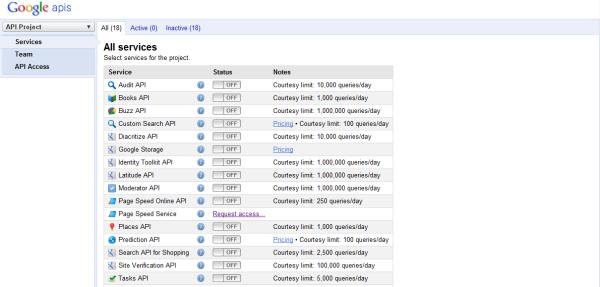 Google apisサービス一覧画面