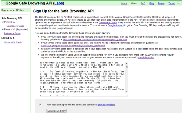Google Safe Browsing APIの利用規約