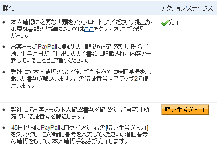 PayPalの本人確認用手続きページ