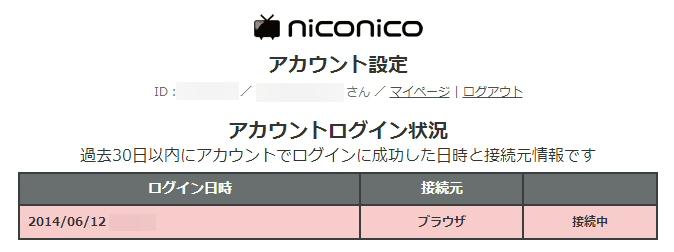 ニコニコ動画のログイン履歴